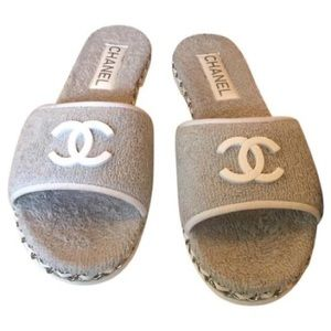 Chanel Terry Cloth Mule Slide Sandals